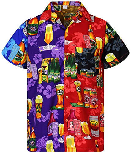 4b464016c V.H.O. Funky Hawaiian Shirt Men Short Sleeve Front-Pocket Beerbottle  Multiple Colors