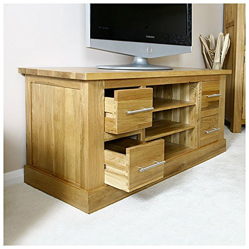 solid oak tv cabinet stand with drawers wide unit delamere hflco camberley oak 2 door