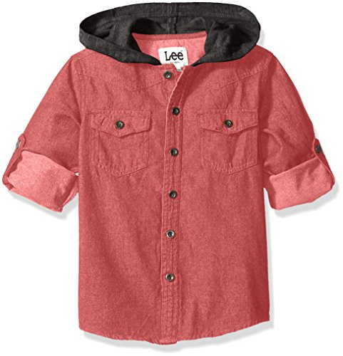 LEE Little Boys' Toddler French Terry Hooded Chambre Shirt, Red, 4T -