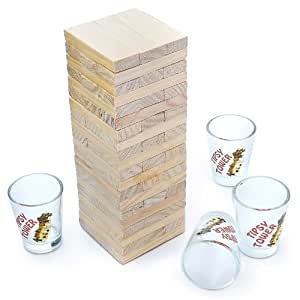 Tipsy Tower Juego de beber Con 4 vasos de chupito Jenga Juego para adultos
