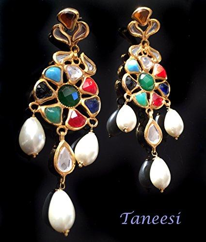 Kundan Earrings Chandelier Navrattan Indian Kundan