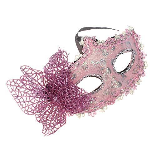 (Sameno Halloween Cosplay Mask Masquerade Lace Mask Catwoman Cutout Prom Party Mask (Pink 2))