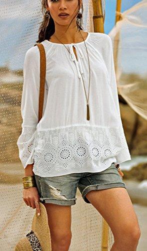 aa7bd4719d307b Versandhausware Tunika Bluse Creme-weiß Stickerei Hippie Boho 964350:  Amazon.de: Bekleidung