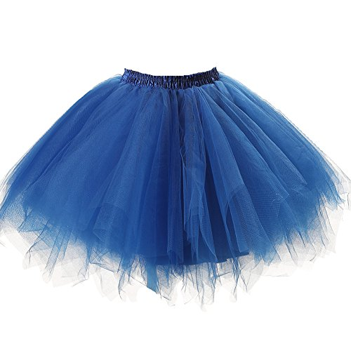 Ruffled Bubble (Honeystore Women's Short Vintage Ballet Bubble Puffy Tutu Petticoat Skirt Royal Blue)