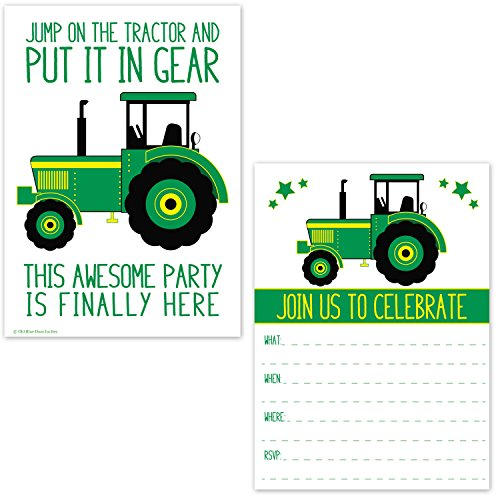 Green Tractor Birthday Party Invitations for Boys - Farm Ranch Barnyard Kids Invites - Tractor Baby Shower (20 Count with Envelopes) (John Deer Birthday)