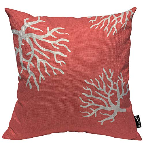 Mugod Beach Coral Throw Pillow Case Pretty Cute Ocean Coral Branch Reef Nature Pink Red White Cotton Linen Cushion Cover Sofa Armchair Bedroom Livingroom 18x18 Inch