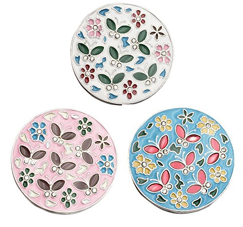 - Foucome Cloisonne Butterfly Flower Folding Foldable Pothook Handbag Clip Hanger Hook Purse Table Hanger Holder,Set of 3,Pink + White+ Blue
