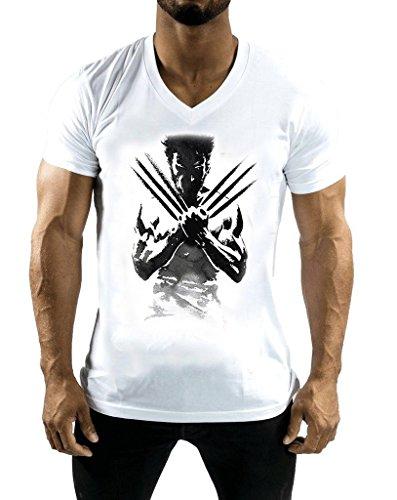 DashX White Wolverine Teefit Fitness Series Mens V-Neck T-Shirt, -