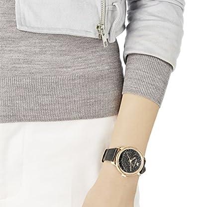 Swarovski Crystalline Hours Armbanduhr für Frauen, schwarzes Lederarmband, schwarzes Kristall, rotgold glänzendes PVD-Finish 4