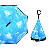 Inverted Umbrella, Double Layer Umbrella Windproof UV Protection Reverse Folding Umbrella and Travel Umbrella with C-Shaped Handle, by UUAT
