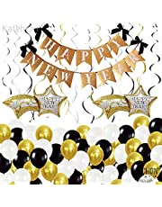 Happy New Year Banner Decorations Set - Glitter Gold   New Years Eve Party Supplies 2022   Happy New Year Sign with Shooting Star Balloons for Happy New Year Decorations 2022   NYE Decorations 2022