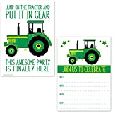 Green Tractor Birthday Party Invitations for Boys - Farm Ranch Barnyard Kids Invites (20 Count with Envelopes)