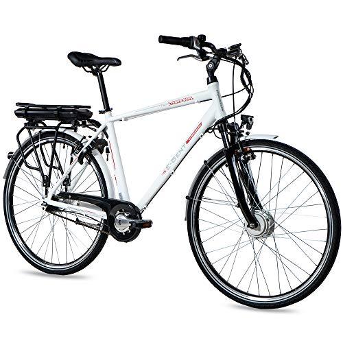 CHRISSON 28 inch E-Bike Trekking en City Bike voor heren – E-Gent wit met 7 versnellingen Shimano Nexus naafschakeling…