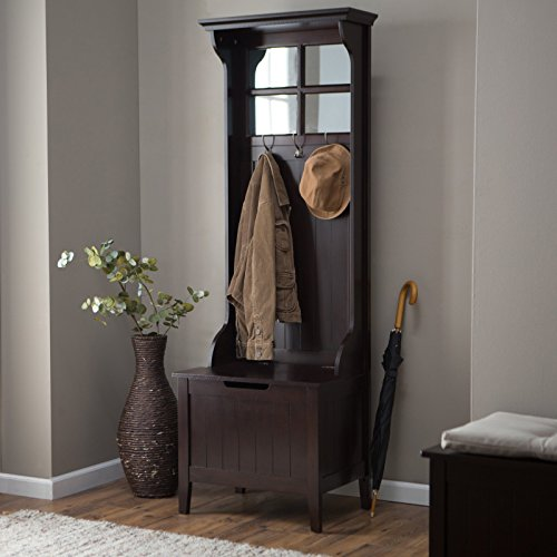 Bead Board Birch Solid Wood - Classic Style Espresso Brown Bead Board Hall Tree Entryway Storage Seat Bench Mirrored