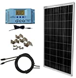 WindyNation 100 Watt Solar Panel Complete Off-Grid RV Boat Kit with LCD PWM Charge Controller + Solar Cable + MC4 Connectors + Mounting Brackets