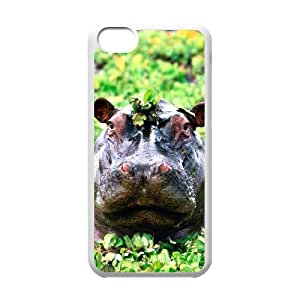 WJHSSB Print Hippo Pattern PC Hard Case for iPhone 5C