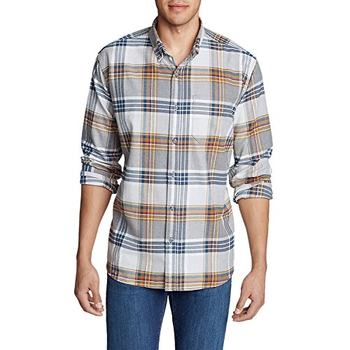 Classic Fit Plaid Shirt (Eddie Bauer Men's Eddie's Favorite Flannel Classic Fit Shirt - Plaid, Frost Gray)