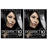 Clairol Perfect 10 By Nice 'N Easy Hair Color 002 Black 1 Kit (Pack of 2)