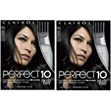 Clairol Perfect 10 By Nice 'N Easy Hair Color Kit (Pack of 2), 002Black Hair Color, Includes Comb Applicator, Lasts Up To 60 Days