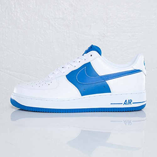 Nike Herren Air Force 1 Low Weiß Blau Leder Sneaker