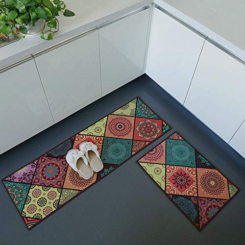 iisutas 2 Piece Non-Slip Kitchen Mat Runner Rug Set Doormat Vintage Design Baroque Style,Square (15