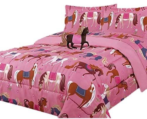 JORGE'S HOME FASHION INC かわいいコレクション 馬 子供 女の子 掛け布団セットとシーツセット 6ピース ツインサイズ B07L9JNXDR