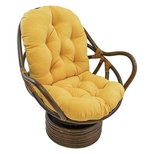 International Caravan Rattan Swivel Rocker With Micro Suede Cushion, Lemon, 3310-MS-LM (Wicker Daybed Sale)