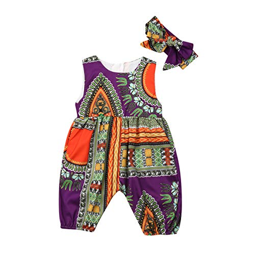 (Toddler Baby Girl African Dashiki Print Outfits Sleeveless Harem Romper Jumpsuit with Headband 2Pcs Set(Purple,4-5T))