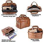 ZIPLINE Office Laptop Vegan Leather Executive Formal 13″ Laptop Briefcase Messenger Bag for Men Women with Multiple compartments (Brown)