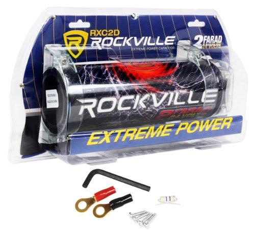 Rockville RXC2D 2 Farad Stiffening Power Capacitor with LED Digital Volt - Capacitor Stiffening