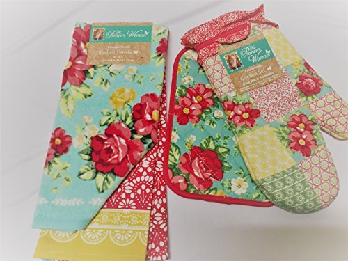 Pioneer Woman Patchwork Oven Mitt, Pot Holder and Vintage Floral Kitchen Towels (Holders Pot Vintage)