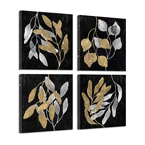Botanical Prints Art Wall Decor : Black Floral Branch in Golden and Silver Gold Foil Graphic Artwork Print on Canvas (16
