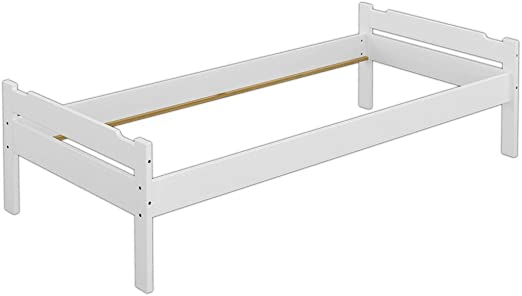 Erst Holz Cadre De Lit Simple Pin Massif Blanc 90x200 Cadre