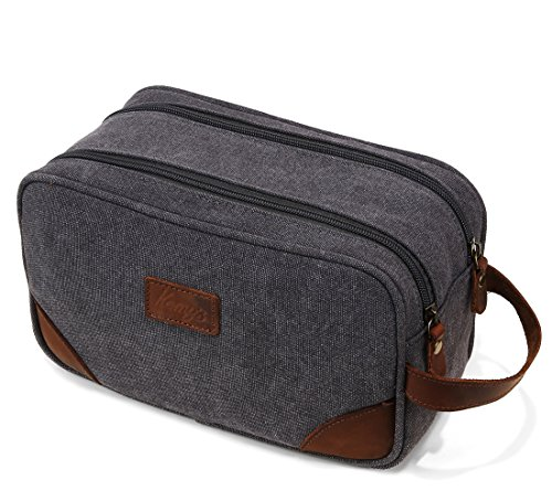 Price comparison product image Mens Bathroom Travel Bag Shaving Bags for Men Dopp Kits Vintage Canvas Leather Dob Kit Toiletry Cosmetic Bag Double Zipper Compartments for Traveling Kemy's, Grey, Large, Unisex