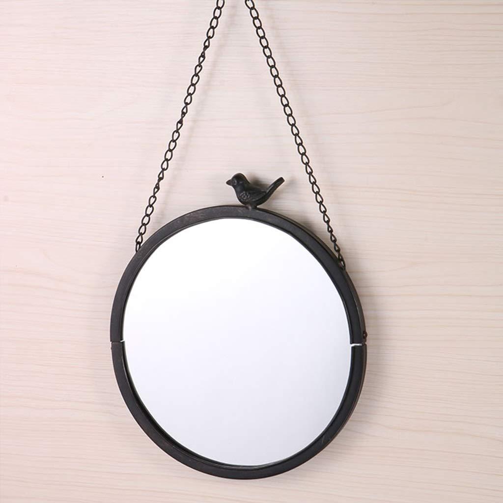 JIANPING Garden Iron Frame Mirror Round Chain Wall Hanging Decorative Mirror Wall Mirror by JIANPING
