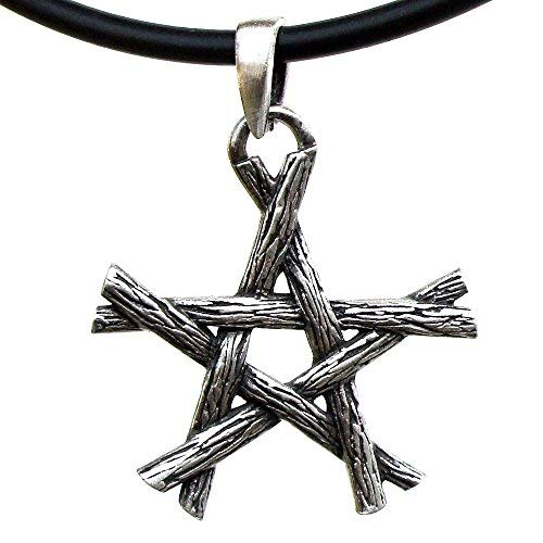 OhDeal4U Magic Wicca Pagan Pendant Twigs Pentagram Star Silver Pewter Pendant Charm Amulet Necklace (Black PVC Cord)