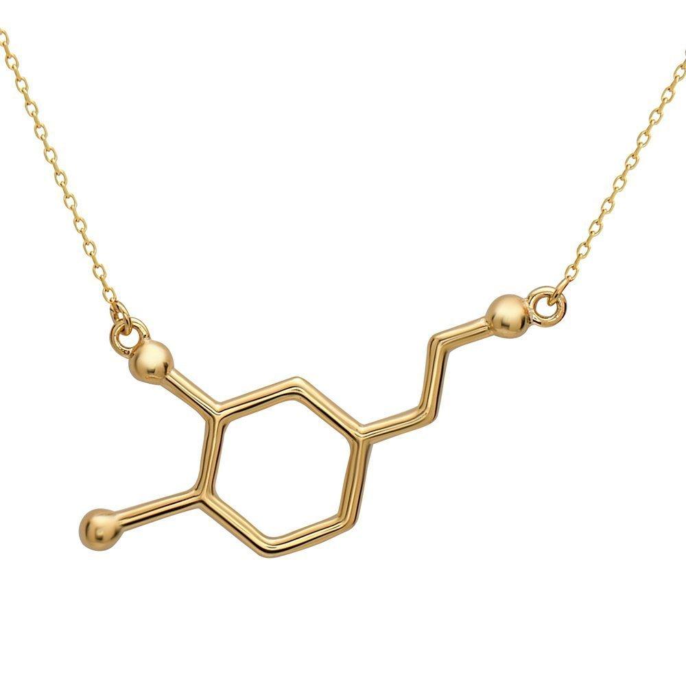 Dopamin Molekül Anhänger mit Halskette | hochwertige Metalllegierung | Farben: Silber Gold Rosegold | by Serebra Jewelry (SJ) DOP09123u