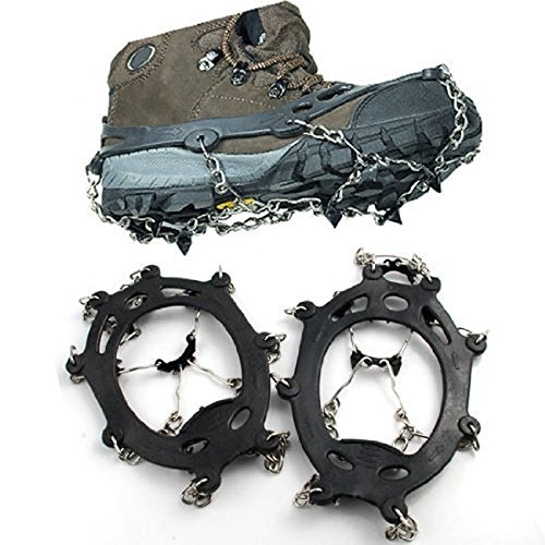 abcGoodefg One Pair Anti Slip 8 Teeth Ice Claws Crampons Non-Slip Shoes Cover Shoe Chains Stainless Steel Chain Snow Outdoor Ski Hiking Climbing Dig Ect. (Black) by abcGoodefg