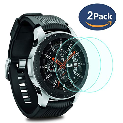 Compatible Samsung Gear S3 & Samsung Galaxy Watch 46mm Screen Protector [2 Pack],YiJYi Full-Coverage Tempered Glass Screen Protector [9H Hardness] [Crystal Clear] [Bubble Free Installation]