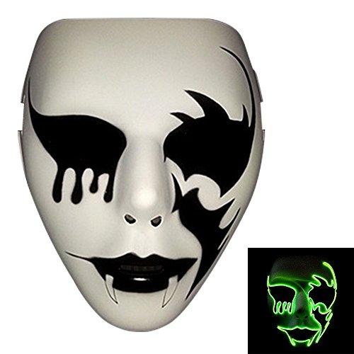 Bonamana Luminous Light Up Mask Costume EL LED Wire Halloween Mask Death Grimace Masks Masquerade (Fluorescent (Diy Scary Halloween Costumes For Adults)