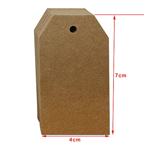 4x7cm (1.5x2.7 inch) Brown Black White Kraft Paper Gift Decoration Tag Blank Price Luggage Hang Tags Marks Wedding Party Note Greeting Cards Bookmark Label 200 Pcs ()