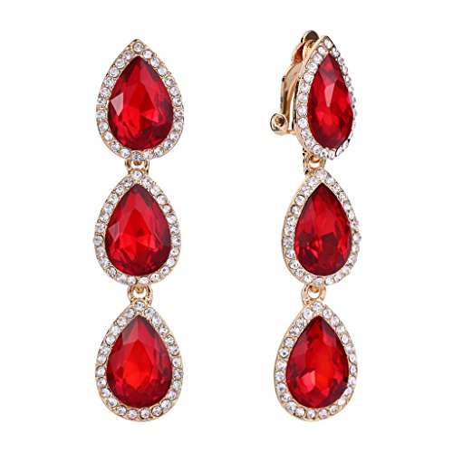 EleQueen Women's Gold-tone Austrian Crystal Teardrop Pear Shape 2.4 Inch Long Clip-on Dangle Earrings Ruby Color ()