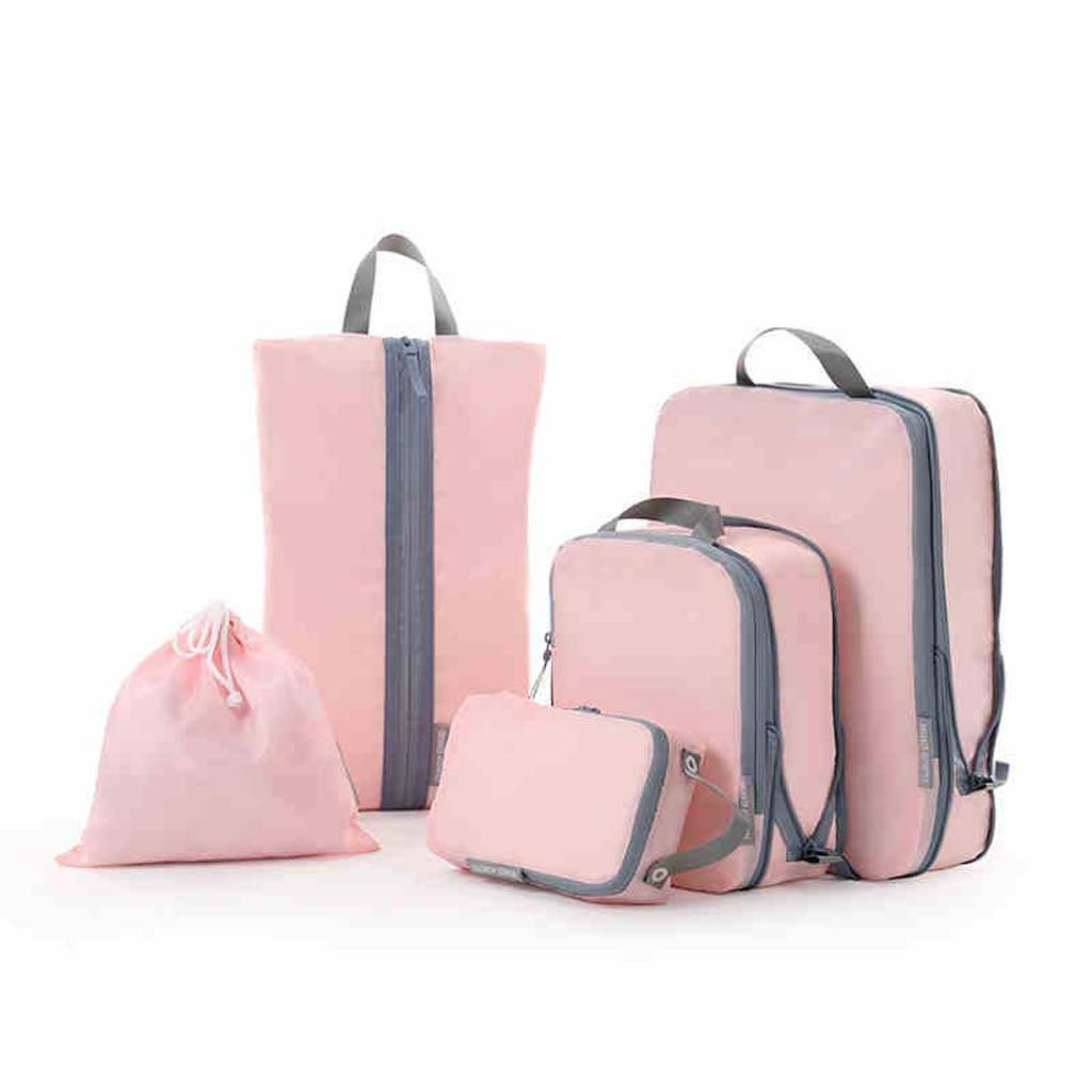 Bolsa de viaje Conjunto 5 juegos de la maleta de ropa bolsa de almacenamiento de ropa Zapatos Bolsa Bundle bolsillo bolsita de tela ( Color : A ) ASDF
