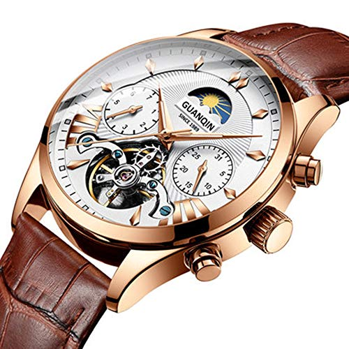 - Watch Men's Mechanical Watch Automatic New Hollow Leather Fashion Waterproof Men's Watch