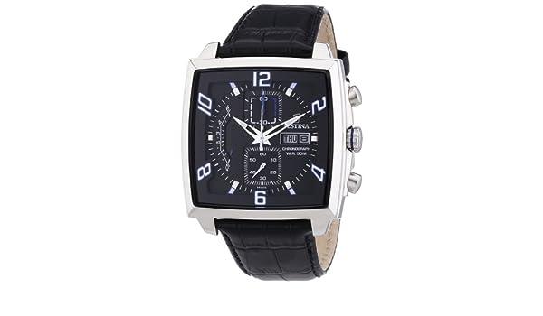 Festina F6826/2 - Reloj cronógrafo de cuarzo para hombre con correa de piel, color negro: Festina: Amazon.es: Relojes