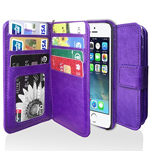 iPhone 5s Case, iPhone 5 Case, J.west iPhone 5s/5/SE Wallet Case, Fashion PU Leather Magnet Wallet Flip Case Cover with Built-in Credit Card/ID Card Slots for 5s 5G 5 SE - Purple