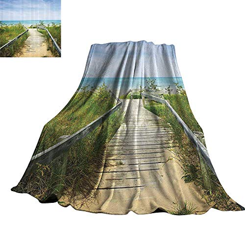 Seaside Decor Collection Faux Fur Throw Blanket Boardwalk Over Dunes at Beach Pinery and Provincial Park Ontario Canada Holidays Picture 60