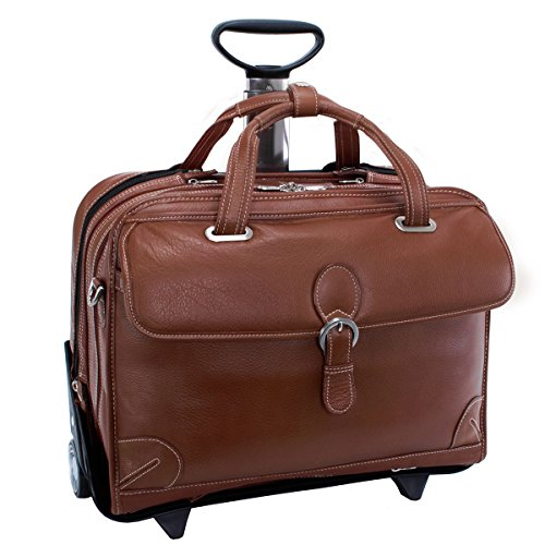 Siamod Carugetto Leather Detachable-Wheeled Briefcase, Laptop Case in Brown