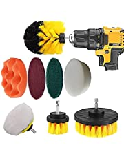 Drill Brush Set | 9 pc Drill Brush Car Detailing Attachment Set | Auto Detail and Scrub Brushes, Car Polishing Pad, Buffing Pad | Car Wash Supplies for Cleaning Cars, RVs, Tires, Rims, Wheels, and Vehicles
