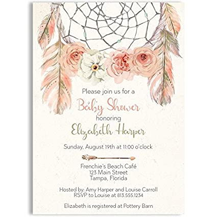 Amazon bohemian baby shower baby shower invitations pink bohemian baby shower baby shower invitations pink ivory sage dreamcatcher filmwisefo